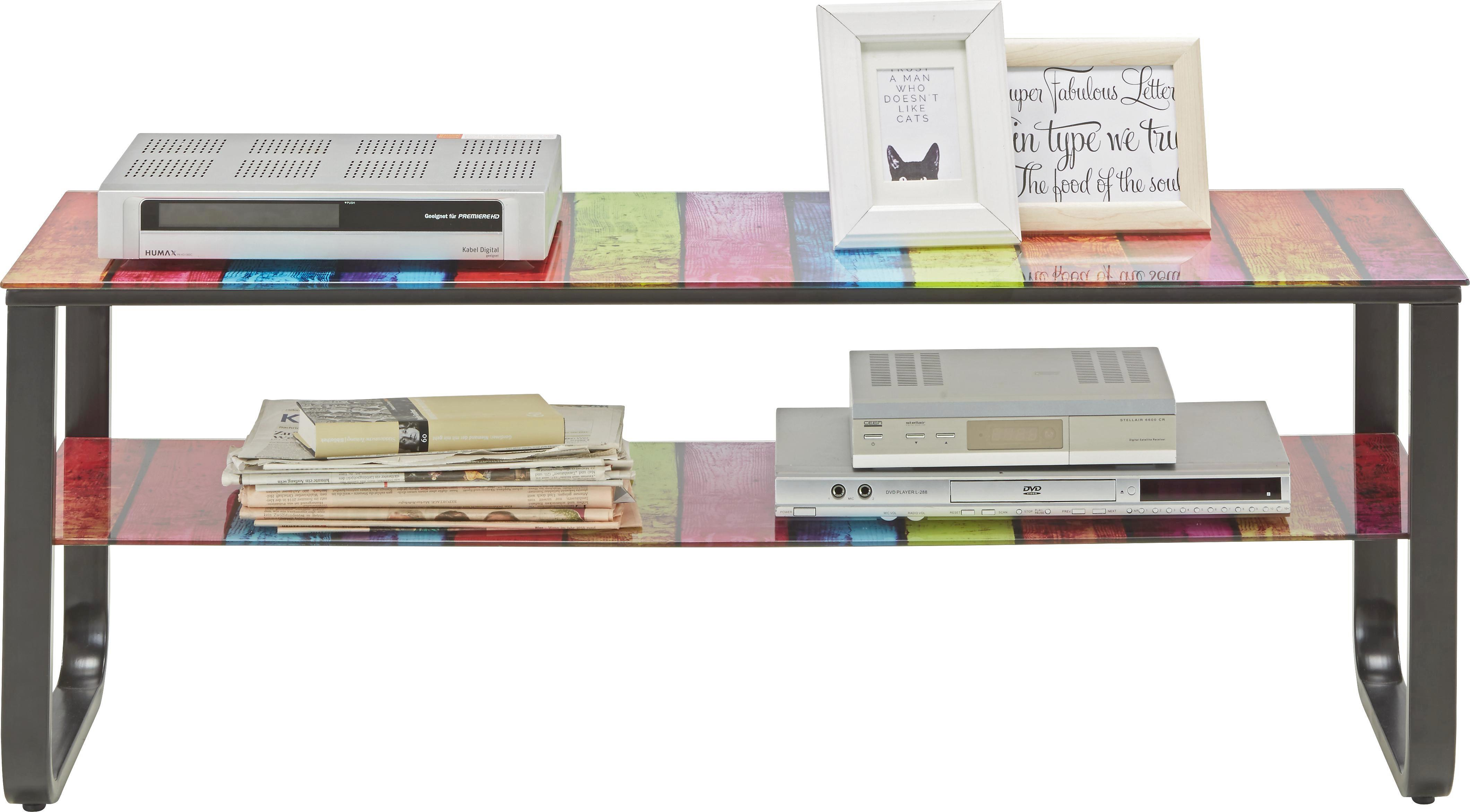 Médiaállvány Momo - multicolor, modern, üveg/fém (120/45/40cm) - MÖMAX modern living