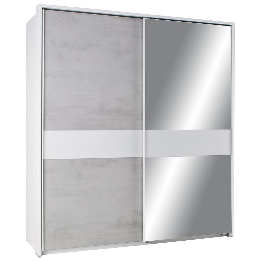 Schwebetürenschrank Beton/Weiß-spiegel ohne Ppt