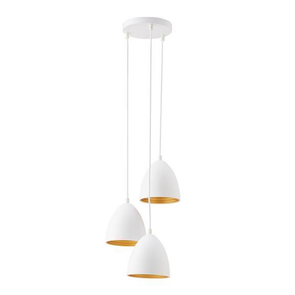 Pendelleuchte Aida 3-flammig - Goldfarben/Weiß, Metall (34/100cm) - Premium Living
