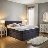 Boxspringbett Greta ca.180x200cm inkl. Topper - Dunkelgrau, MODERN, Holz/Textil (213/184/106cm) - Mömax modern living