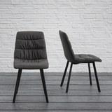 Stuhl Mario - Dunkelgrau, MODERN, Textil/Metall (47/88/59,5cm) - Modern Living