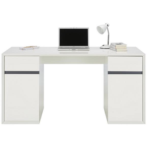 Schreibtisch Hochglanz Weißgrau Online Kaufen Mömax