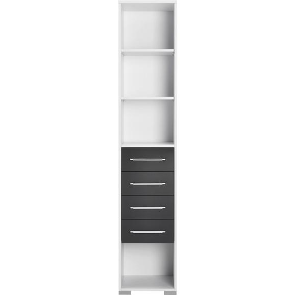 Aktenregal Weiß - Silberfarben/Weiß, MODERN, Holzwerkstoff/Kunststoff (42,1/214,5/40cm) - Mömax modern living