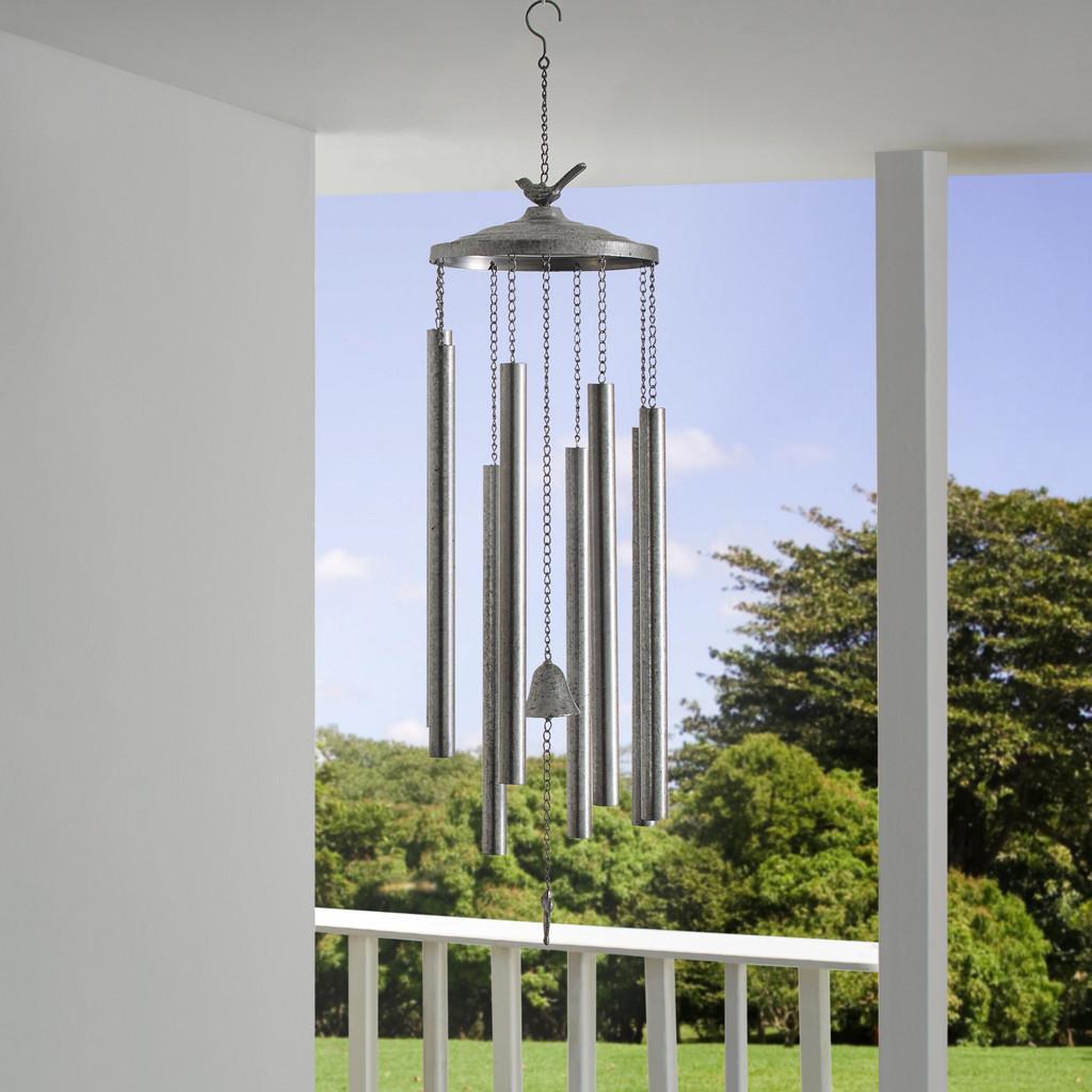 Windspiel in Silberfarben H ca.119cm ''Kieron'' | Garten > Dekoration | Silber | Bessagi Garden