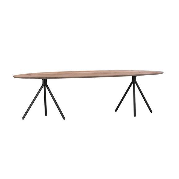 Couchtisch aus Akazie Massiv - Schwarz/Naturfarben, LIFESTYLE, Holz/Metall (150/40/55cm) - Modern Living