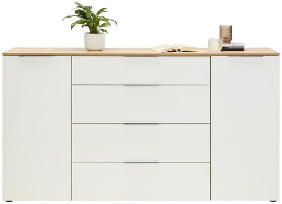 Sideboard in Weiß/Eichefarben - Chromfarben/Eichefarben, MODERN, Glas/Holzwerkstoff (180,4/99,8/40cm) - Premium Living