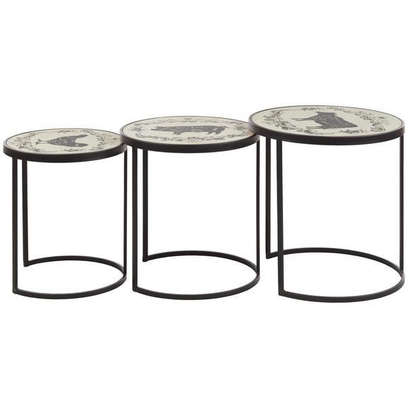 Beistelltischset Schwarz/Weiß, 3-teilig. - Schwarz/Weiß, ROMANTIK / LANDHAUS, Holzwerkstoff/Metall - Zandiara