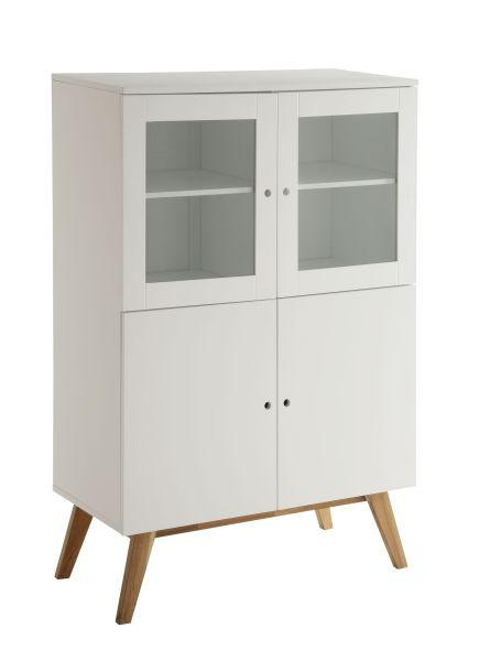 Highboard in Natur/Weiß - Naturfarben/Weiß, MODERN, Glas/Holz (100/145/45cm) - ZANDIARA