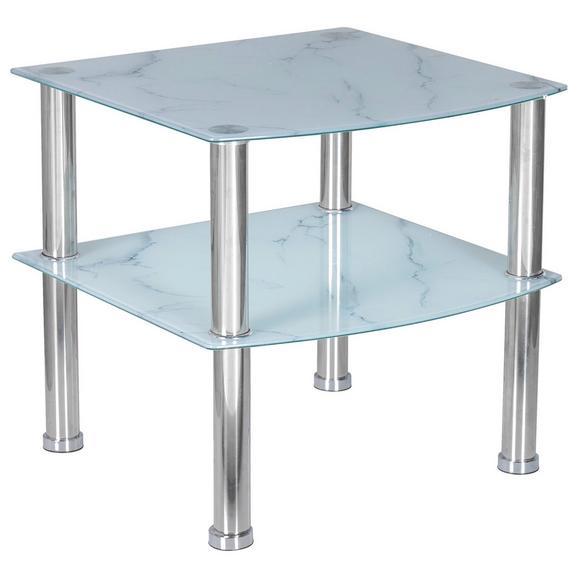 Masă Auxiliară Peter - alb/culoare crom, Modern, sticlă/metal (45/43/45cm)