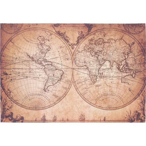 Flachwebeteppich World Map ca.120x180cm - Beige/Braun, ROMANTIK / LANDHAUS, Textil (120/180cm) - Mömax modern living