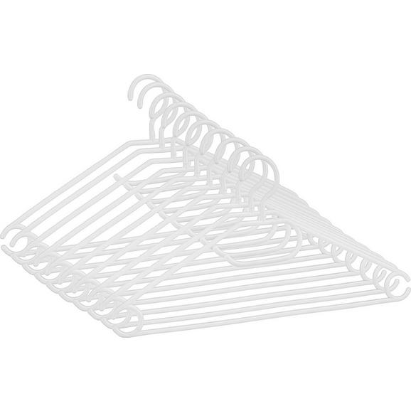 Kleiderbügelset Clara in Weiß 10er Set - Weiß, Kunststoff (40,8/20,5cm) - Based