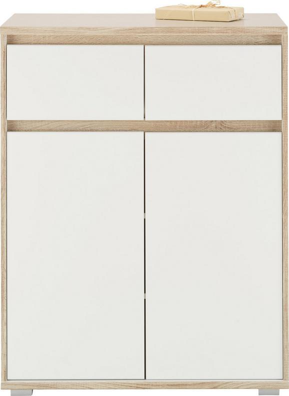 Kommode Weiß/Eiche - Silberfarben/Weiß, MODERN, Holzwerkstoff (80/103/48cm) - MÖMAX modern living