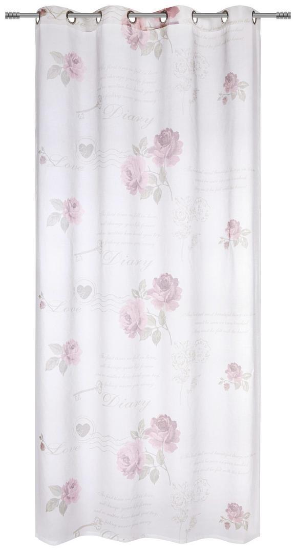 Ösenschal Diarry Rose ca. 140x245cm - Weiß, ROMANTIK / LANDHAUS, Textil (140/245cm) - Mömax modern living