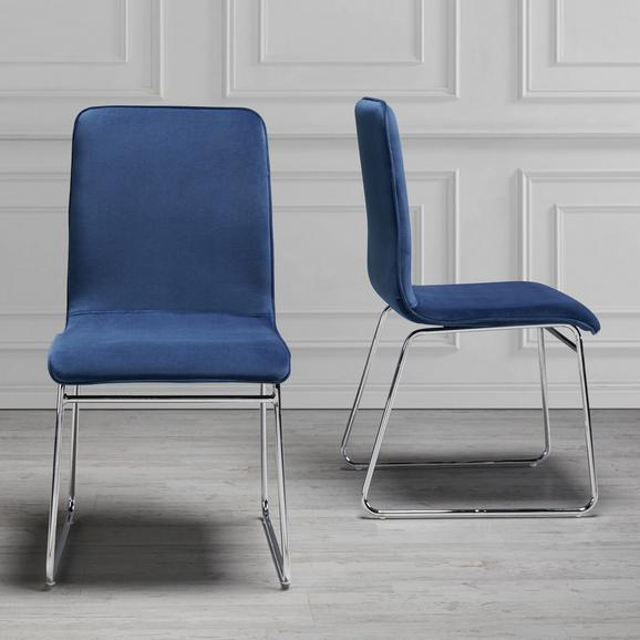 STUHL in Blau 'Vinzenz' - Blau/Chromfarben, MODERN, Holz/Textil (46/89/53cm) - Bessagi Home