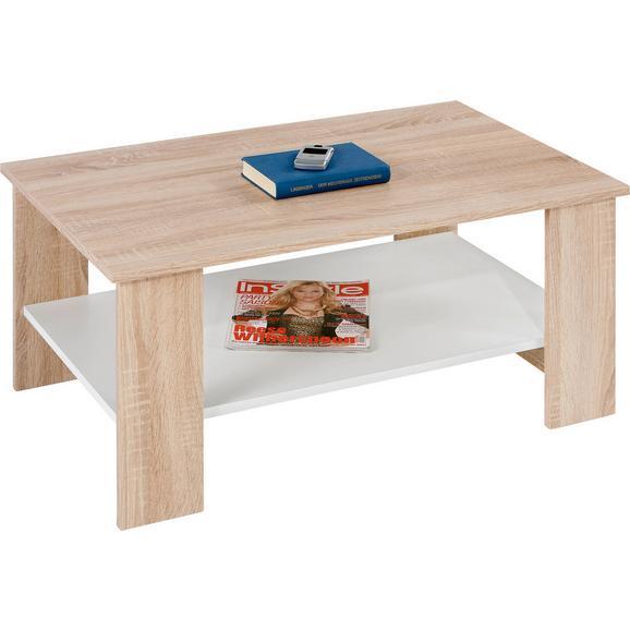 Măsuţă Paolo - stejar Sonoma/alb, Konventionell, compozit lemnos/lemn (90/41/55cm)