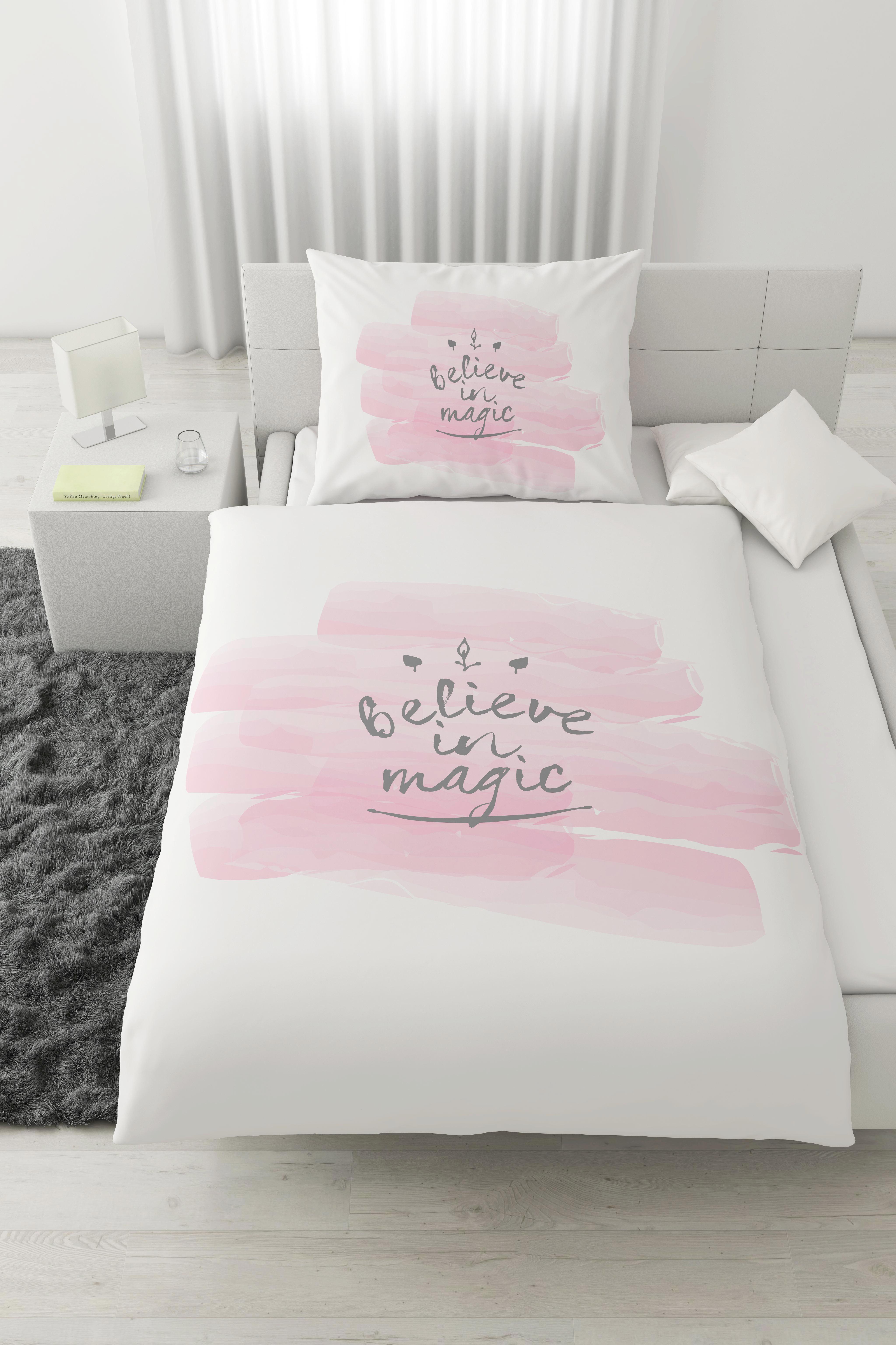 Bettwäsche Magic, ca. 140x200cm - Rosa/Weiß, ROMANTIK / LANDHAUS, Textil (140/200cm) - MÖMAX modern living