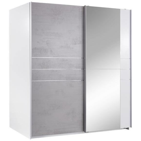Dulap Cu Uși Glisante Stripe - alb/gri, Modern, compozit lemnos/lemn (180/198/64cm)