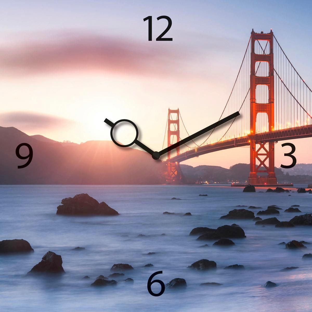 Falióra Pretty Golden Gate Bridge - multicolor, modern, üveg/fém (30/30/3,5cm)