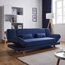 Sofa mit Schlaffunktion in Dunkelblau 'Faith XL' - Dunkelblau, MODERN, Holz/Textil (200/73/83cm) - Bessagi Home