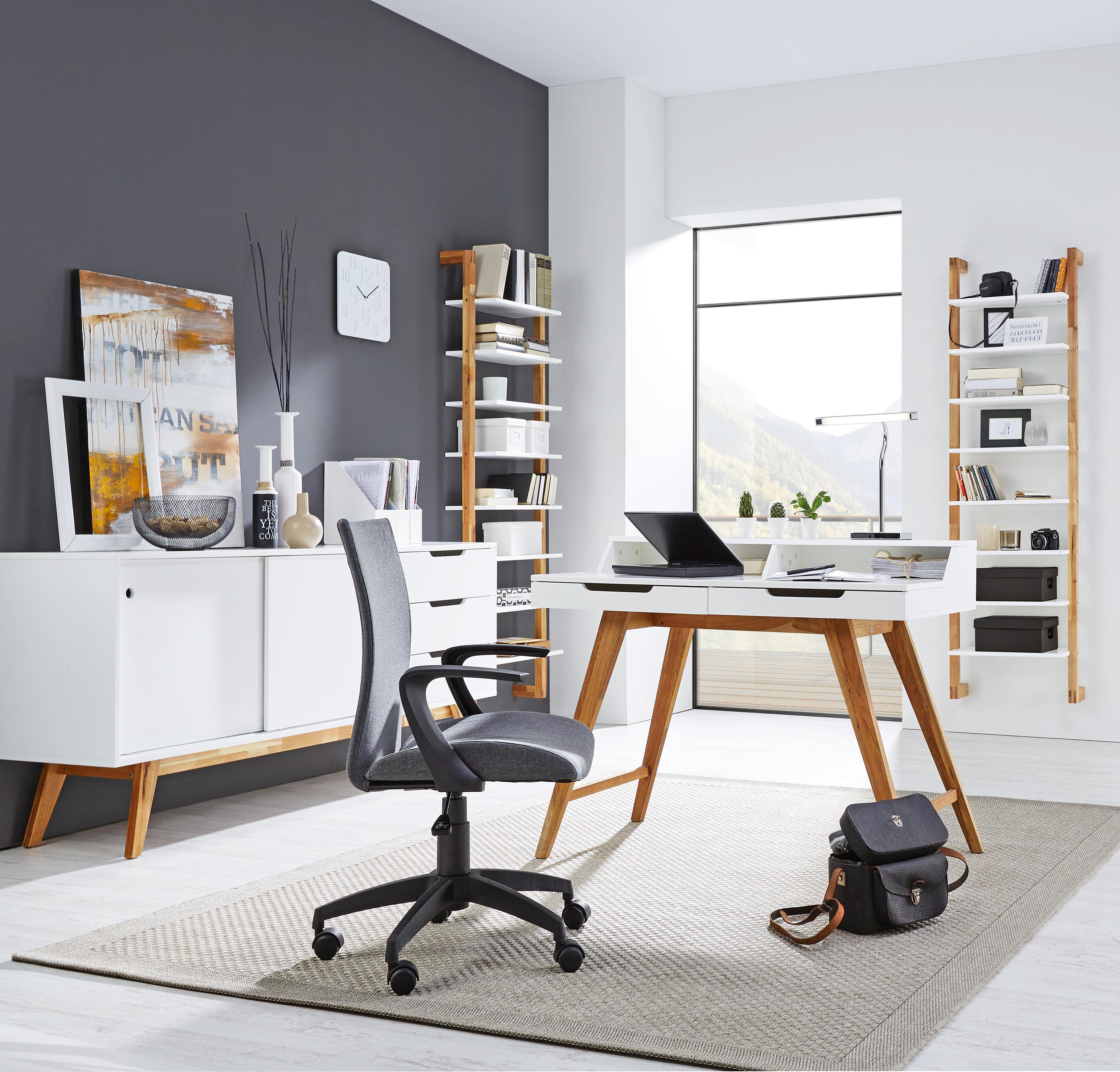 Sarok-íróasztal Durham - barna/fehér, modern, fa/faanyagok (115/76/55cm)