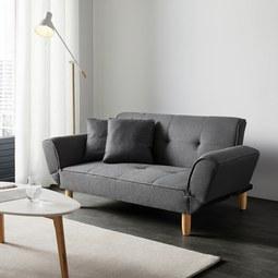 Sofa Miriam mit Schlaffunktion inkl. Kissen - Dunkelgrau, MODERN, Holz/Textil (160/65/85cm) - Mömax modern living