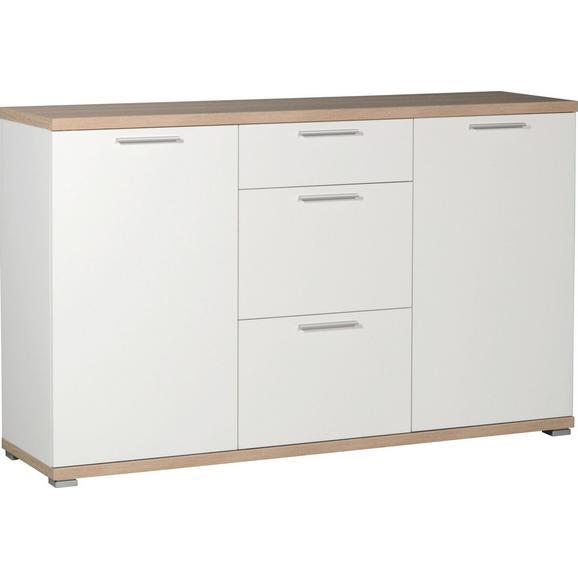 Sideboard in Eichefarben/Weiß - Alufarben/Weiß, MODERN, Holzwerkstoff/Kunststoff (144/88/40cm) - Mömax modern living