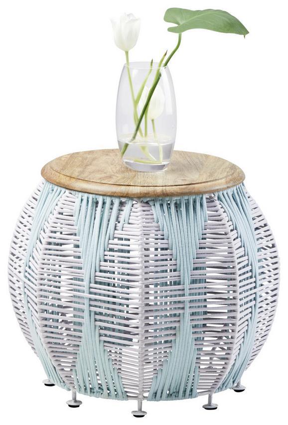 Beistelltisch aus Mangoholz - Multicolor/Weiß, LIFESTYLE, Holz/Textil (43/35/43cm)