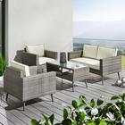Loungegarnitur Carina inkl. Auflagen & Rückenkissen - Weiß/Grau, MODERN, Glas/Kunststoff - MODERN LIVING