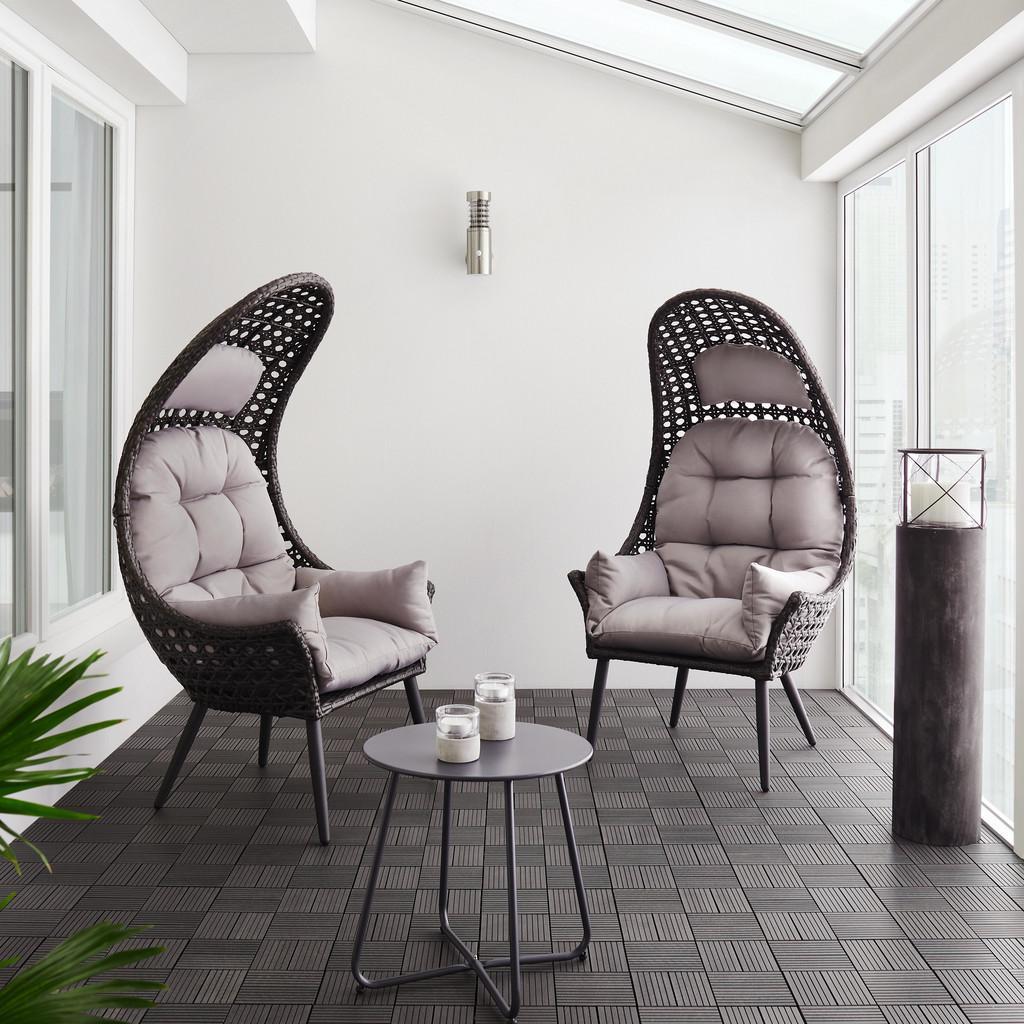 "Gartenlounge-Sessel ""Timi"" aus Polyrattan, dunkelgrau"