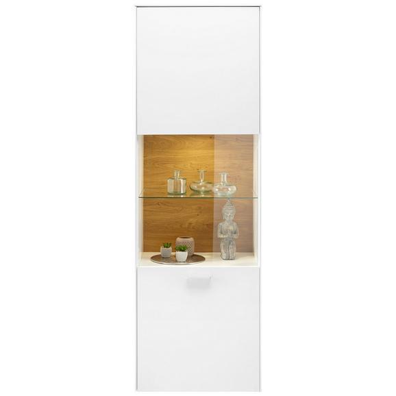 Vitrine in Weiß - Chromfarben/Silberfarben, MODERN, Glas/Holzwerkstoff (60/189/42cm) - Premium Living