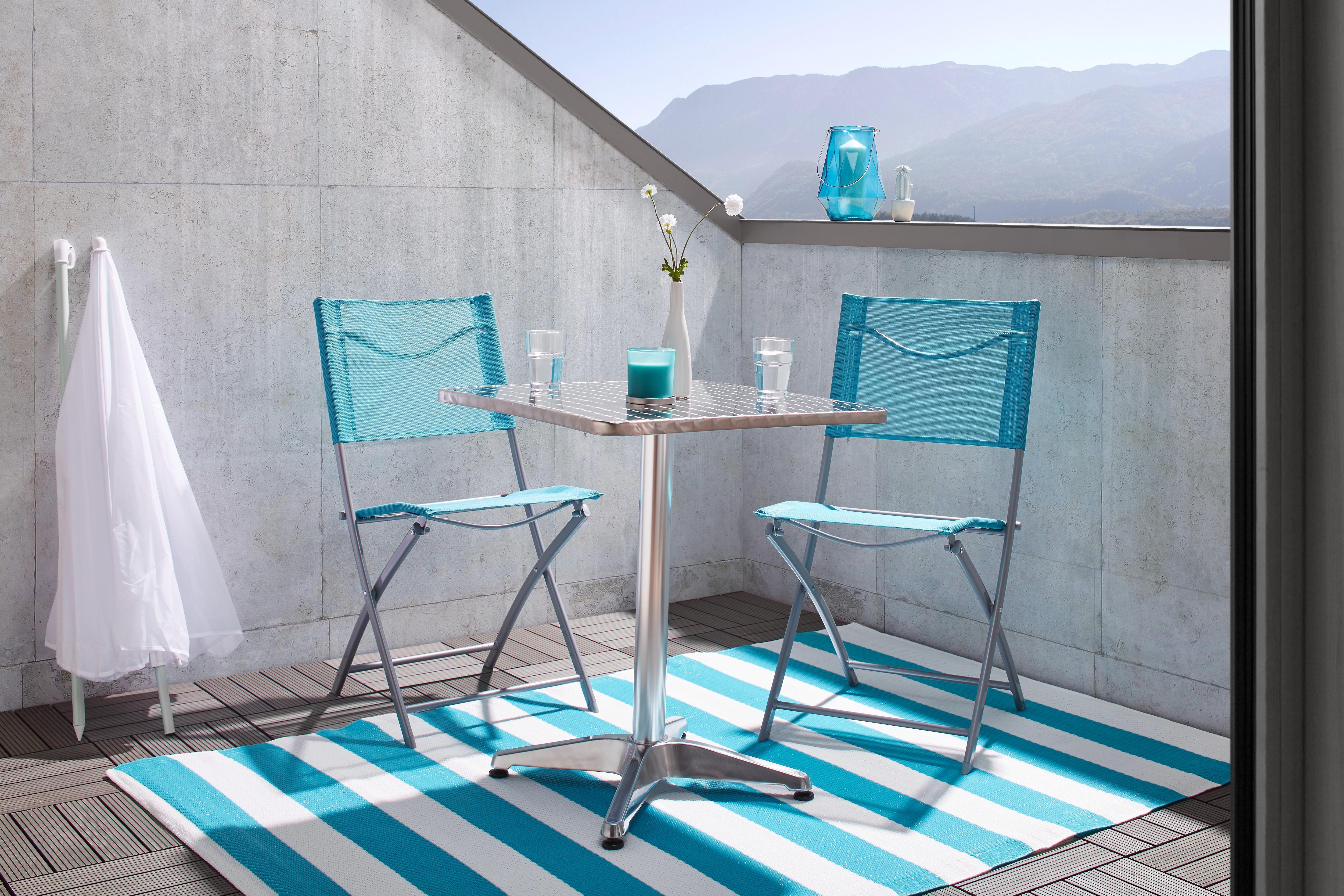 Gartenstuhl Rüdiger in Blau - Blau/Chromfarben, Kunststoff/Textil (43/83/53cm) - MÖMAX modern living