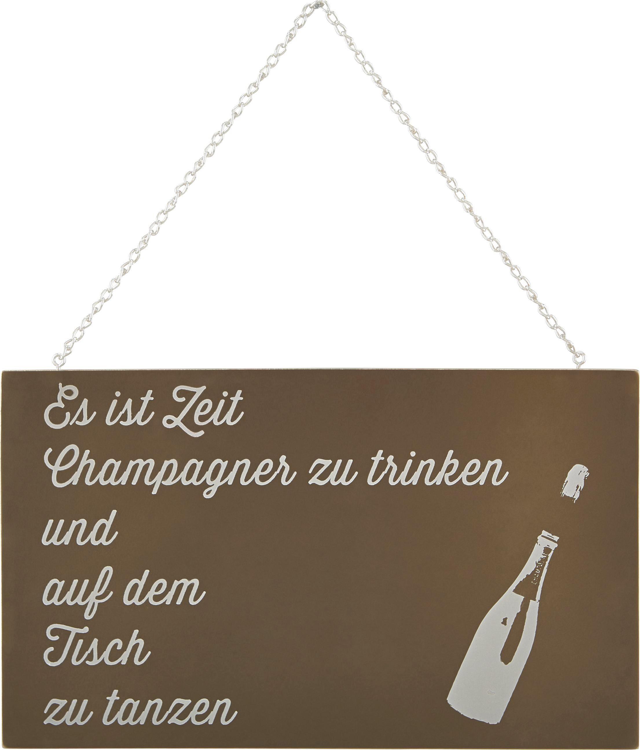 Dekoschild Reimi in Weiß/Gold - Goldfarben/Weiß, MODERN, Holzwerkstoff/Metall (23,2/13,5/0,5cm) - MÖMAX modern living