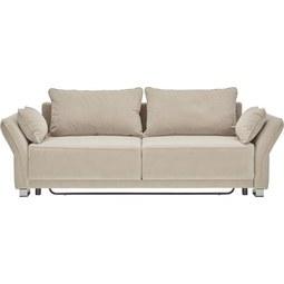 Schlafsofa in Beige mit Bettfunktion - Beige/Silberfarben, MODERN, Holz/Textil (270/80/100cm) - Premium Living