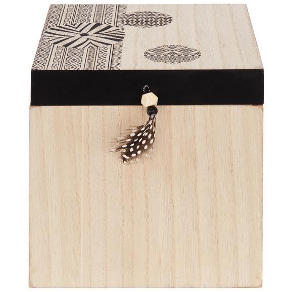 Dekorativna Skrinjica Pocahontas - naravna/črna, leseni material (18/18/18cm)