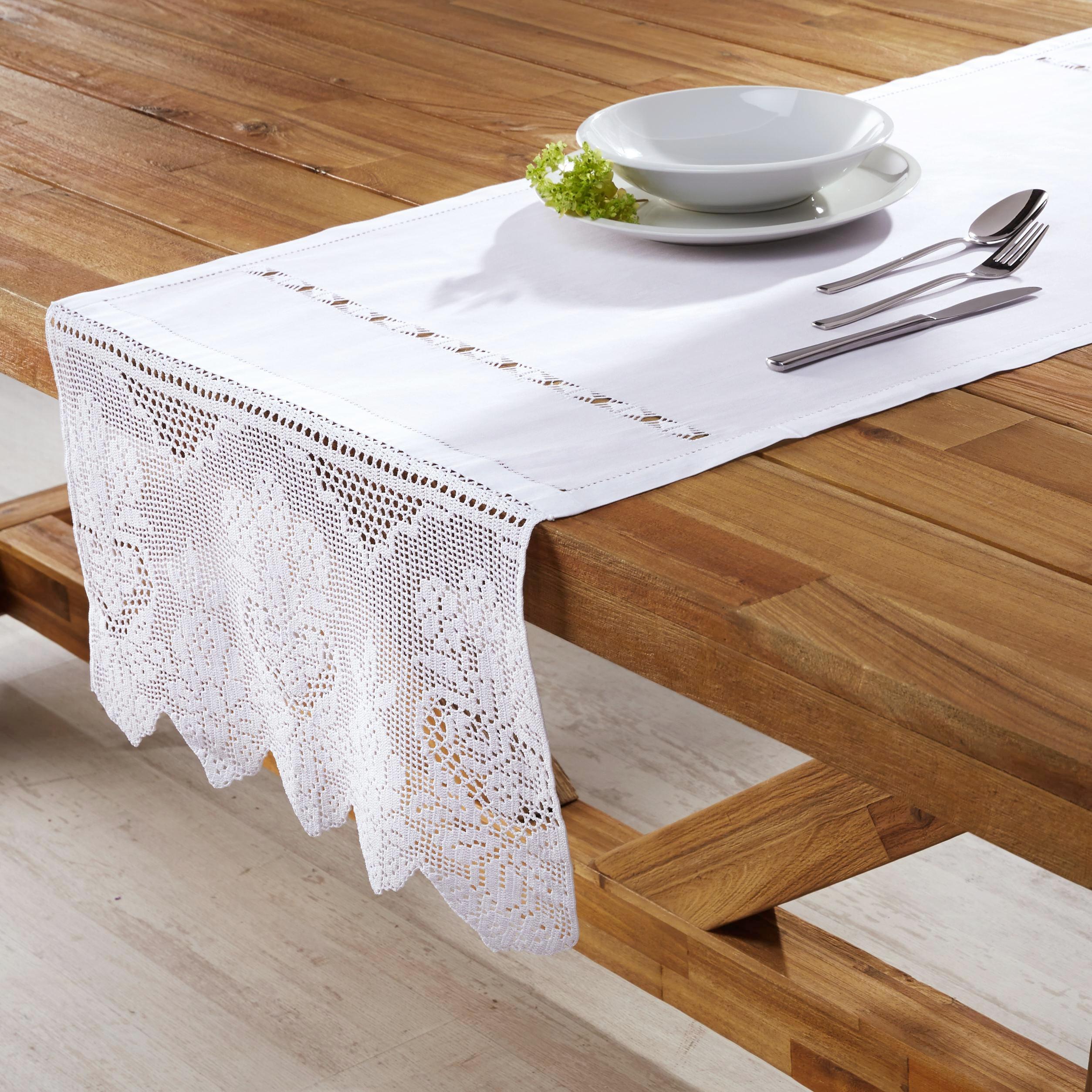 Tischläufer Jasmin 50x150 cm - Weiß, KONVENTIONELL, Textil (50/150cm) - PREMIUM LIVING