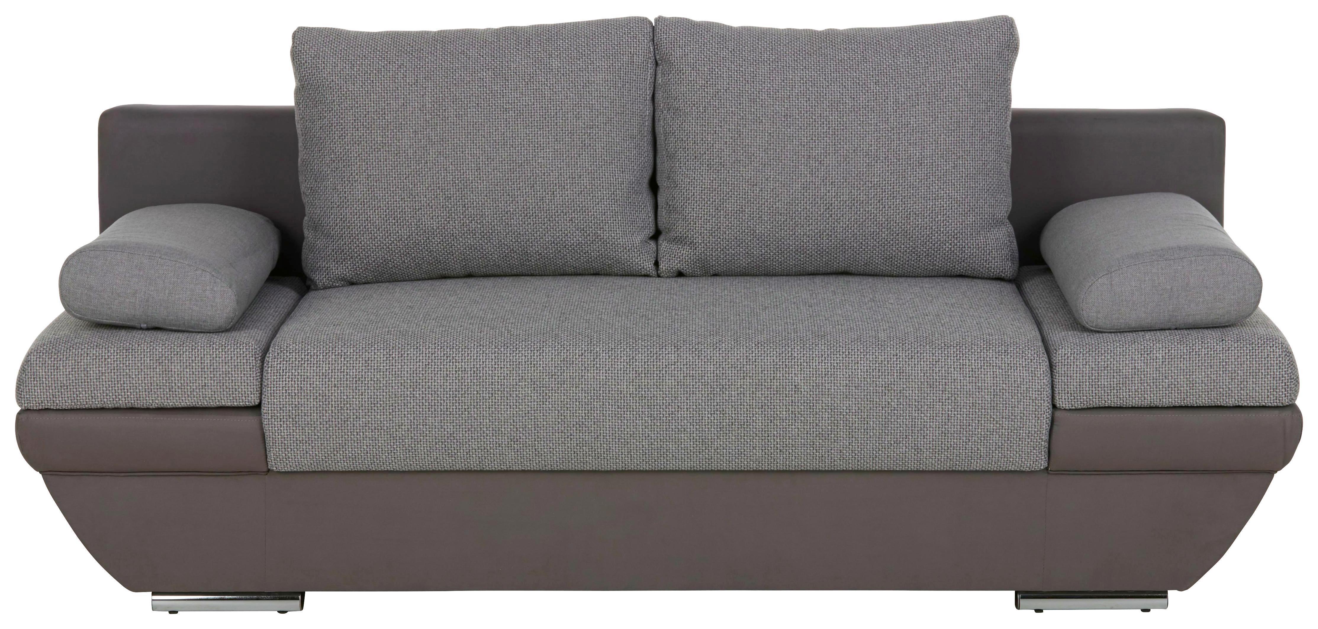 SCHLAFSOFA Grau mit Bettkasten - Dunkelgrau/Hellgrau, Textil/Metall (205/76/95cm) - PREMIUM LIVING