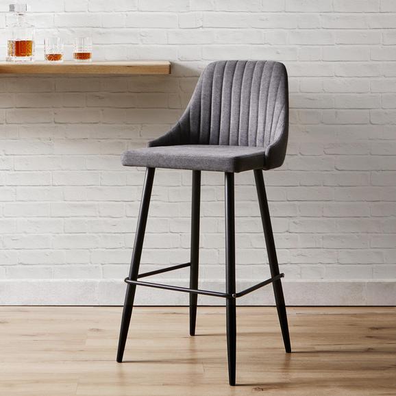 Barhocker Seko - Dunkelgrau/Schwarz, MODERN, Holz/Textil (50/105/55cm) - Bessagi Home