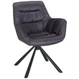 Stuhl in Grau/Schwarz - Schwarz/Grau, MODERN, Textil/Metall (63,5/84cm) - Modern Living