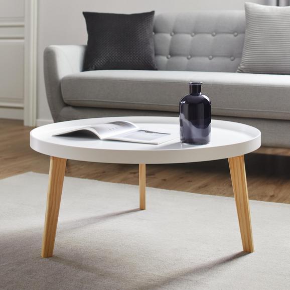 Couchtisch Mick Ø ca. 78cm - Weiß/Pinienfarben, MODERN, Holz/Holzwerkstoff (78/37cm) - Modern Living