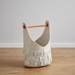 Korb Cui Höhe 39 cm - Beige, MODERN, Textil (25/18/39cm)