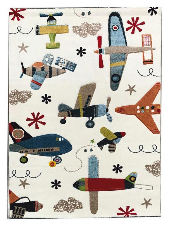 Kinderteppich Flugzeug Bunt 120x170cm - Multicolor, Textil (120/170cm) - Mömax modern living