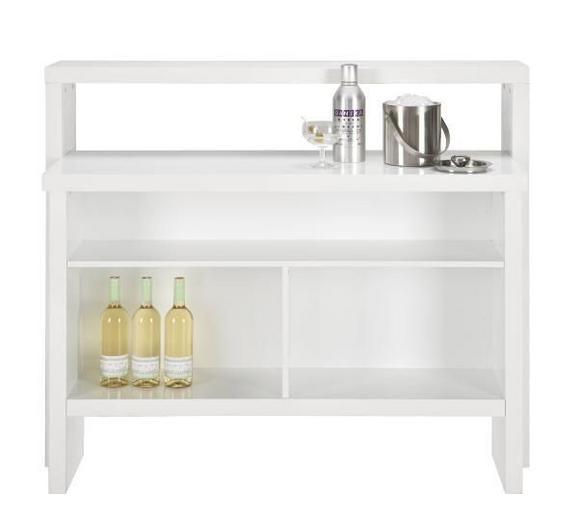 Bar Weiß Hochglanz - Weiß, MODERN, Holzwerkstoff (130/110/50cm) - Mömax modern living