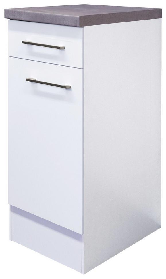 Küchenunterschrank Weiß - Edelstahlfarben/Weiß, MODERN, Holzwerkstoff/Metall (30/86/60cm)