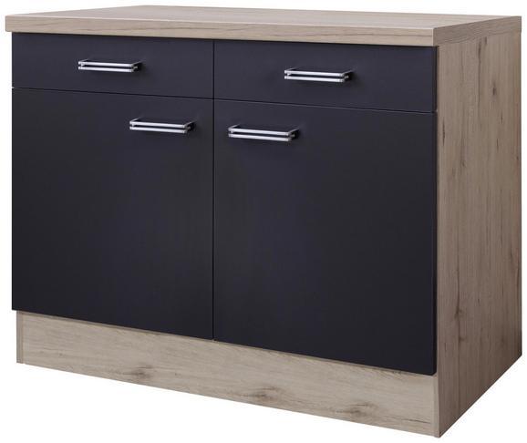 Küchenunterschrank Anthrazit/Eiche - Edelstahlfarben/Eichefarben, MODERN, Holzwerkstoff/Metall (100/86/60cm)