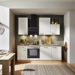 Küchenblock Venezia-Valero Weiß/Eiche - Eichefarben/Weiß, MODERN, Holzwerkstoff (220cm)