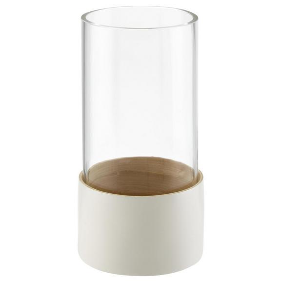 Dekorativna Vaza Finja - bela, steklo/les (11/21cm) - Zandiara
