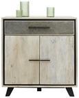 Kommode Mangoholz - Naturfarben/Grau, MODERN, Holz/Stein (90/96/40cm) - Modern Living