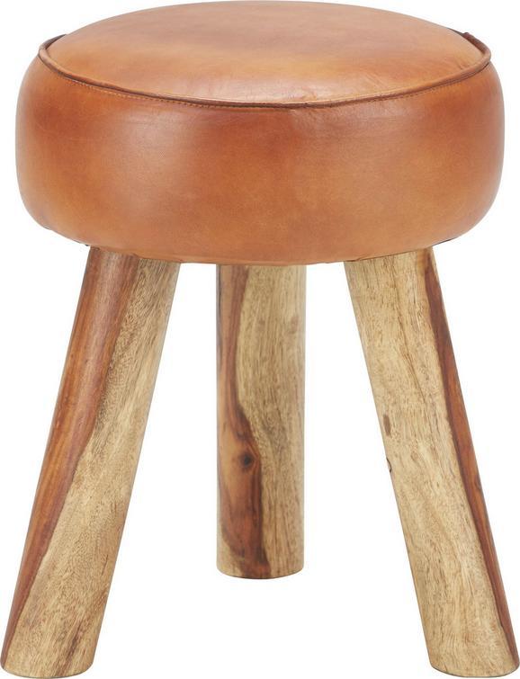 Hocker Manki - Hellbraun/Braun, MODERN, Leder/Holz (32/40/32cm) - premium living