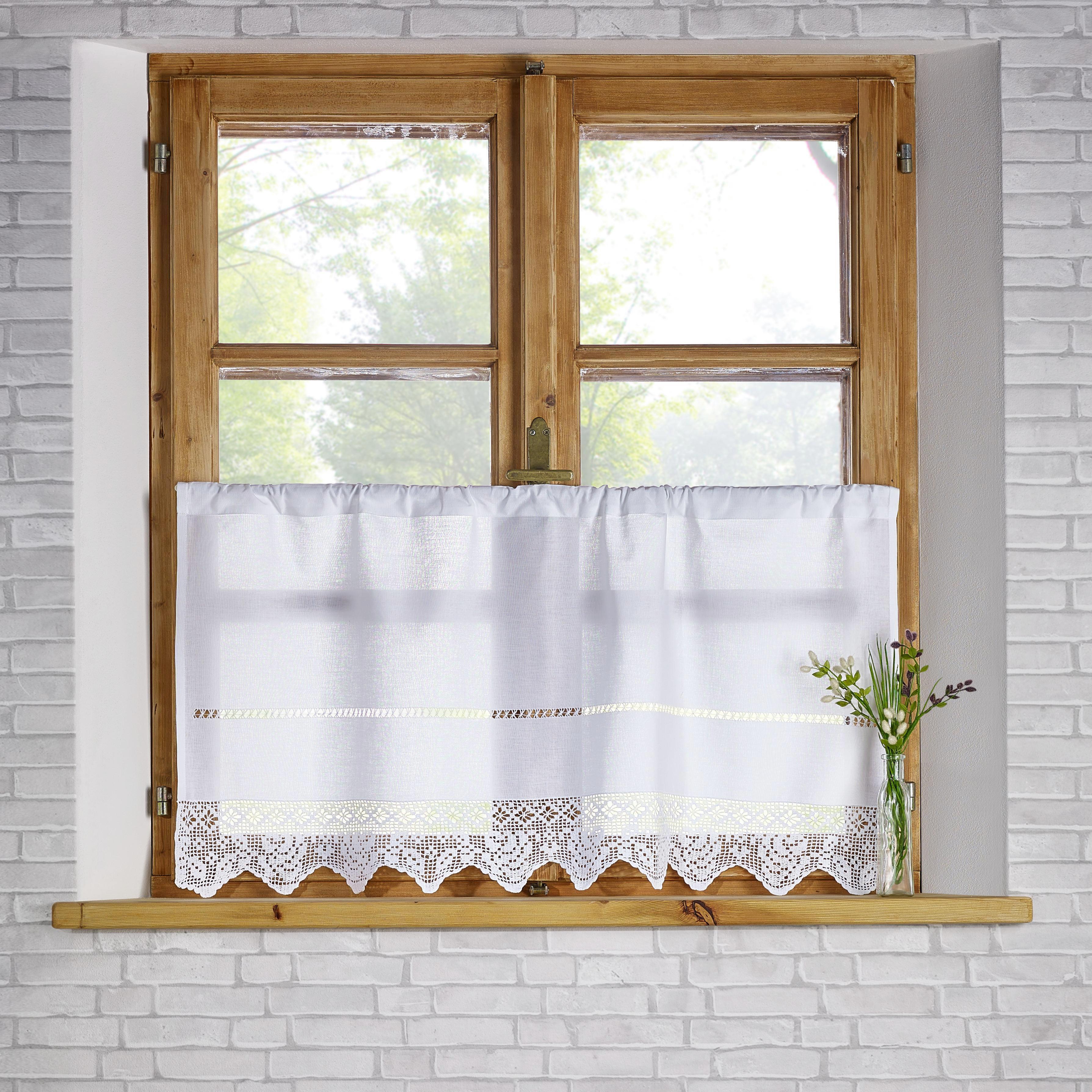 Kurzgardine Nina 50x100cm - Weiß, KONVENTIONELL, Textil (50/100cm) - PREMIUM LIVING