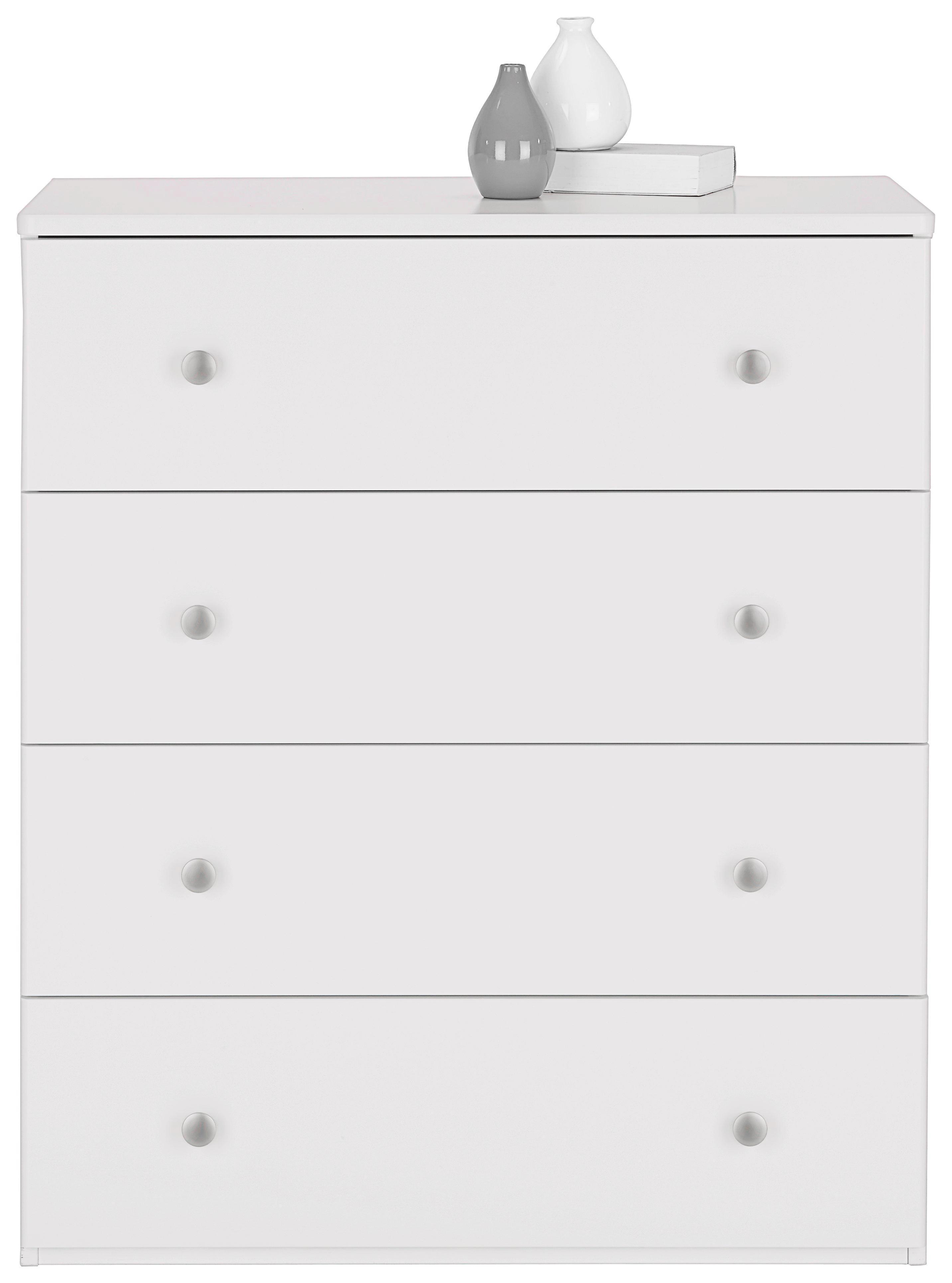 Kommode in Weiß - Silberfarben/Weiß, ROMANTIK / LANDHAUS, Holzwerkstoff/Metall (80/92/40cm) - ZANDIARA